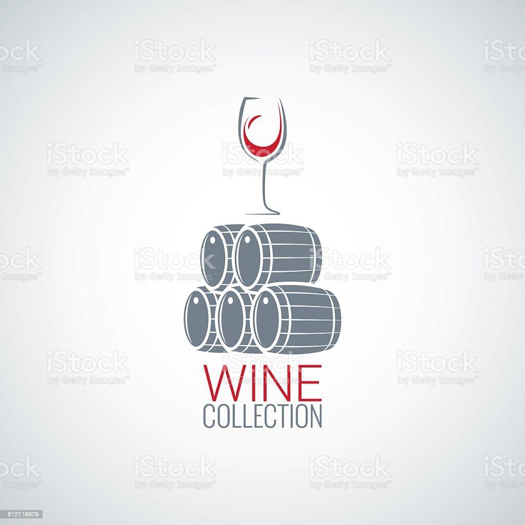 wine glass cellar barrel design vector background vector art illustration