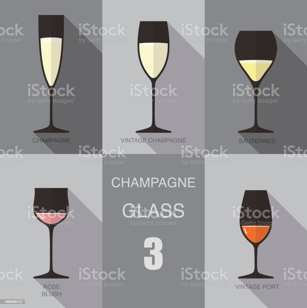 Wine glass cup flat icon design vector art illustration