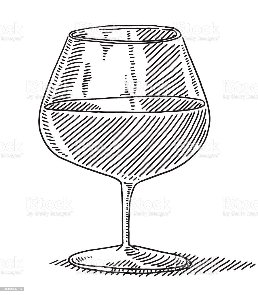 Wine Glass Drawing vector art illustration