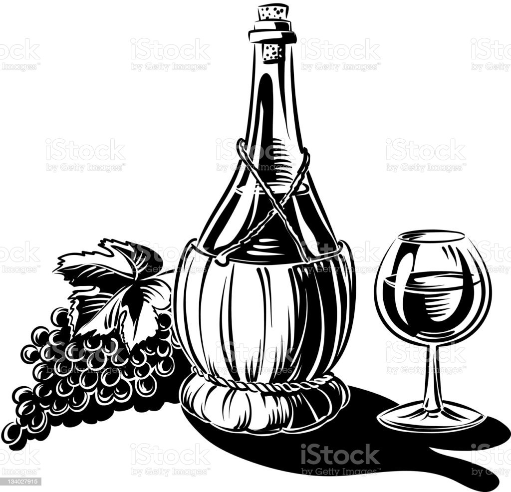 wine glass, fiasco and grapes royalty-free stock vector art