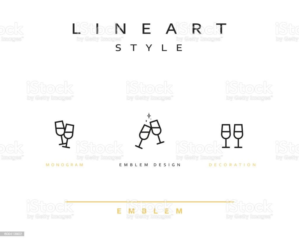 Wine glass icon style line art. vector art illustration