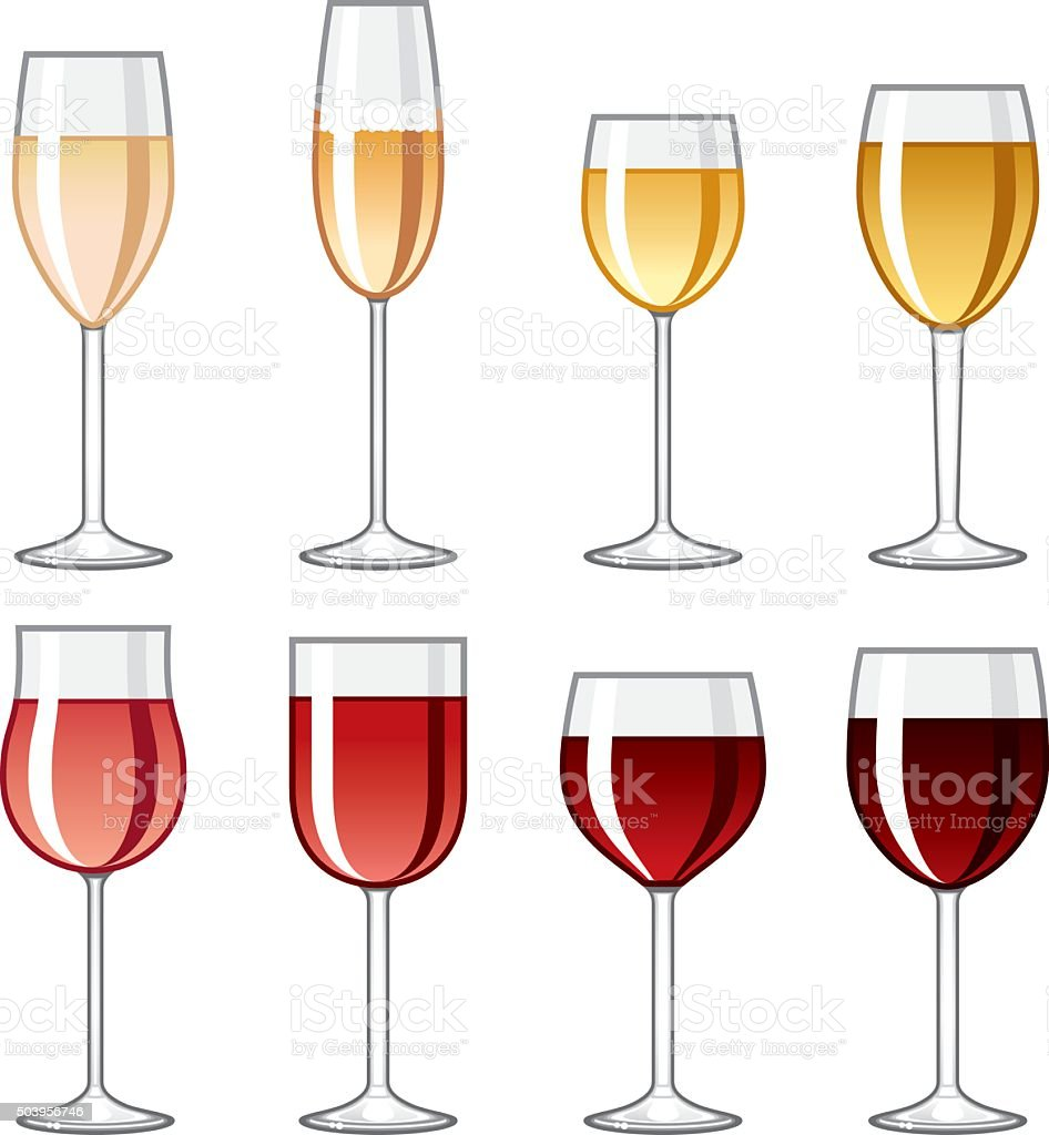 Wine Glass Icons Set vector art illustration