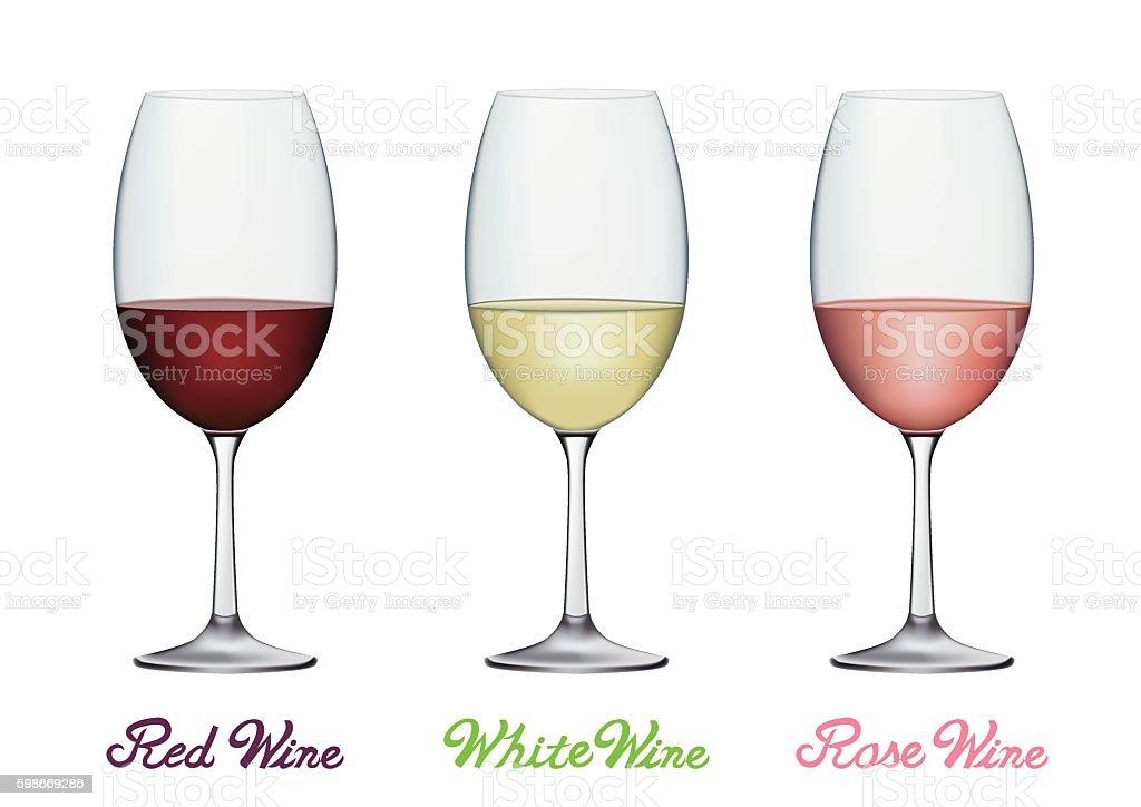 Wine glass set vector art illustration
