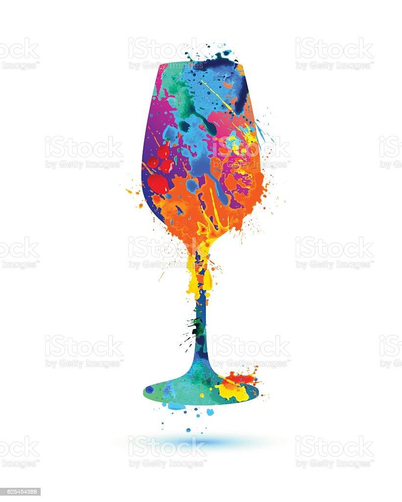 Wine glass. Vector splash paint vector art illustration