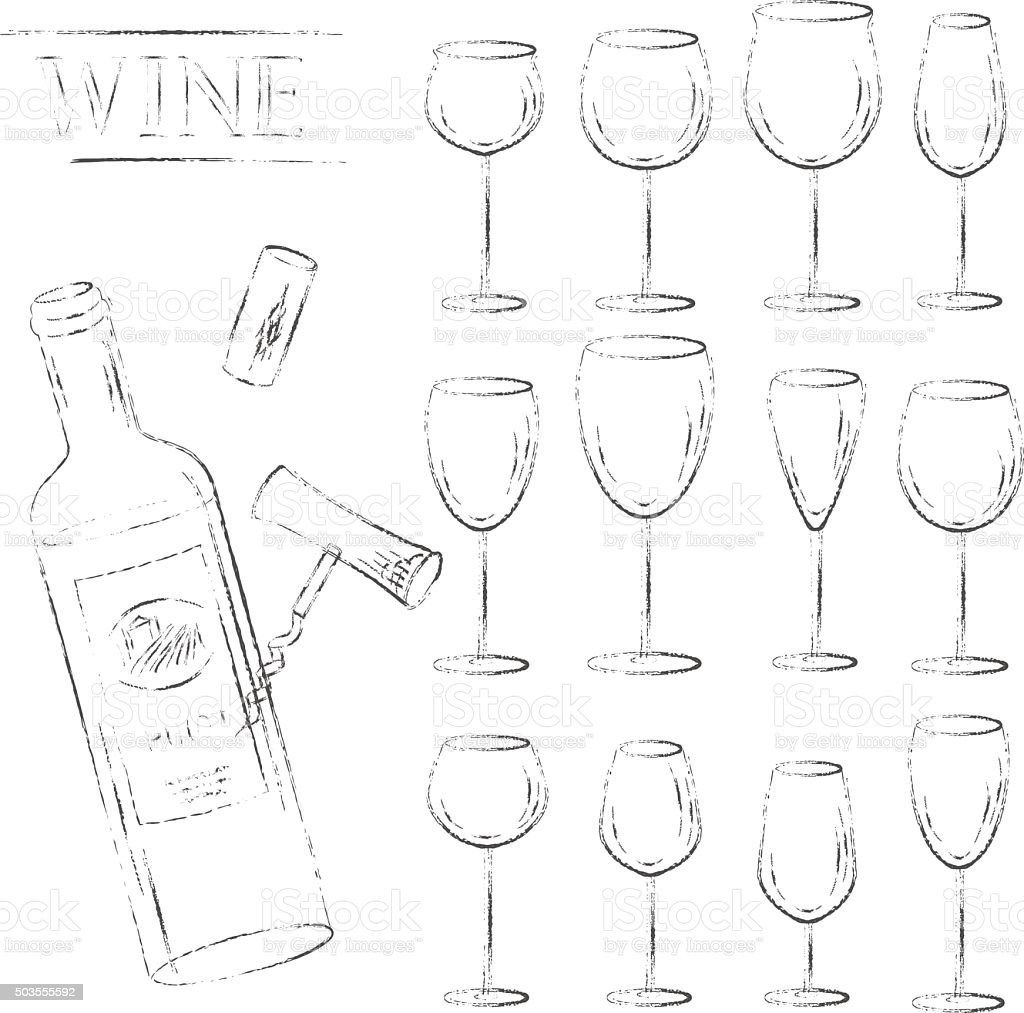 Wine glasses, cork, corkscrew and open bottle sketch set. vector art illustration