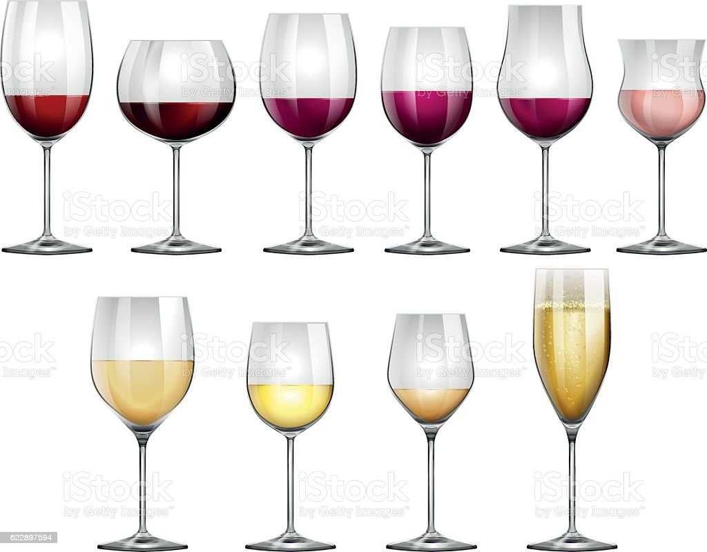 Wine glasses filled with red and white wine vector art illustration