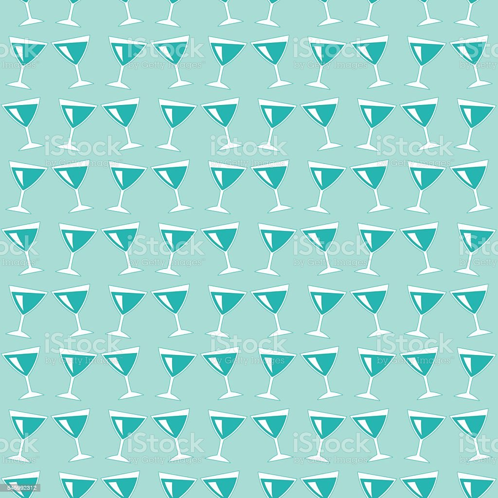 Wine glasses pattern vector art illustration