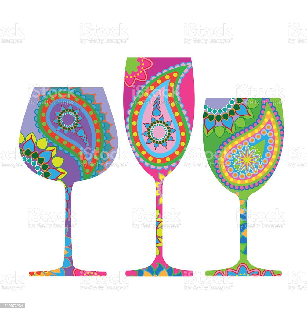 Wine glasses vector art illustration