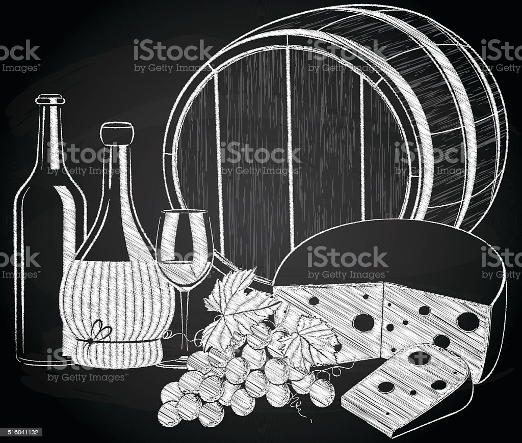 Wine, grape, and cheese on the chalkboard vector art illustration