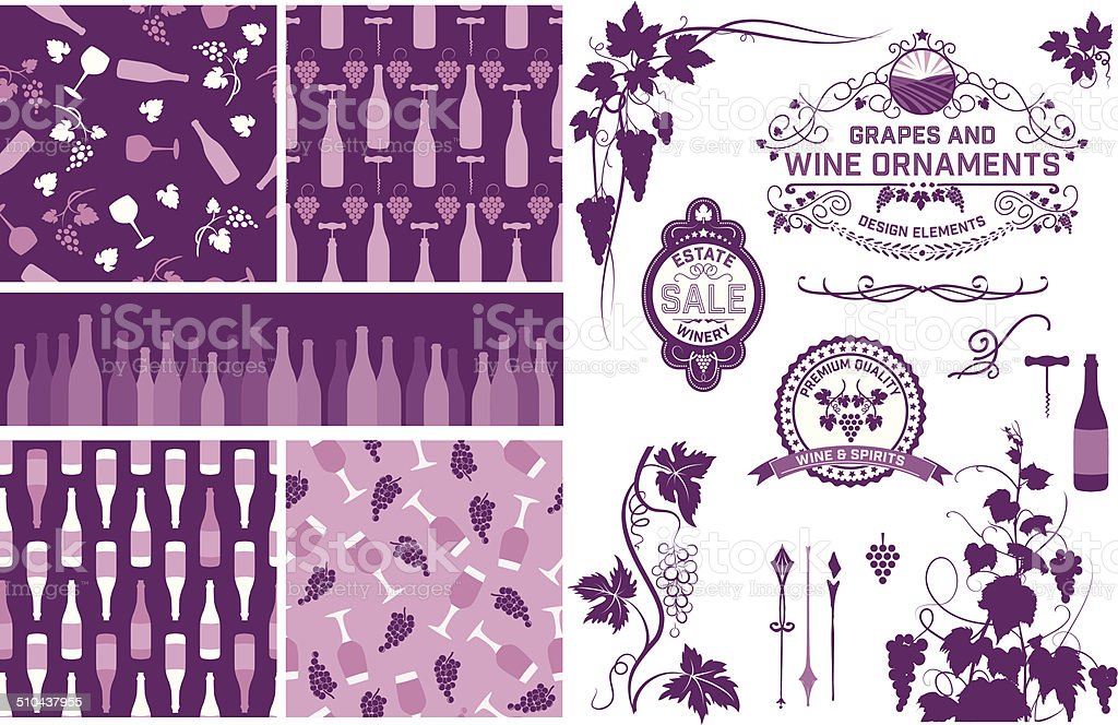 Wine Grapes Design Elements And Patterns vector art illustration