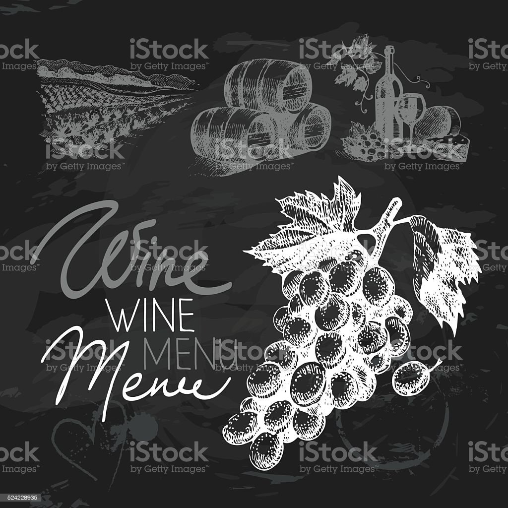 Wine hand drawn chalkboard design set. Black chalk texture vector art illustration