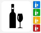 Wine Icon Flat Graphic Design