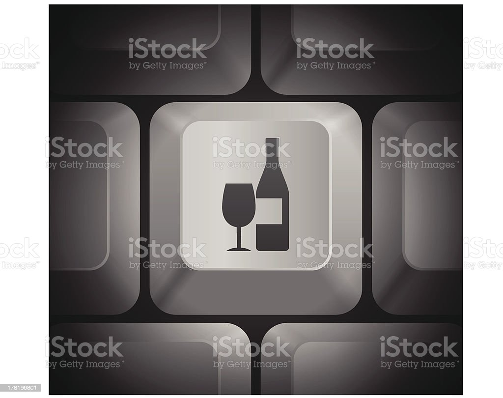 Wine Icon on Computer Keyboard royalty-free stock vector art