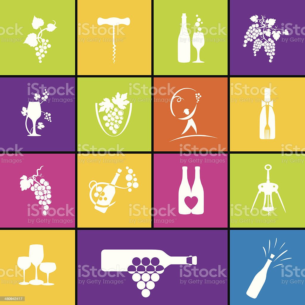 Wine Icon Set In Bold Colors vector art illustration