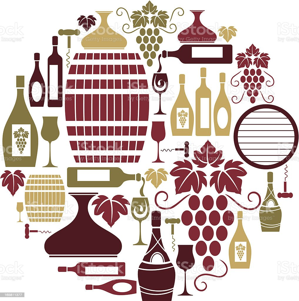 Wine Icon Set royalty-free stock vector art