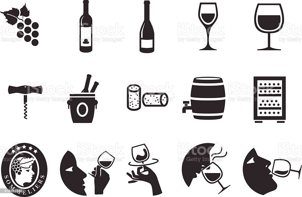 Wine icons - Illustration vector art illustration