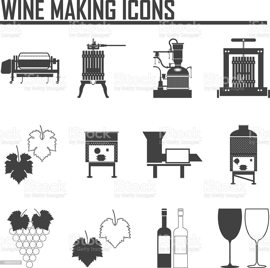Wine icons set vector art illustration