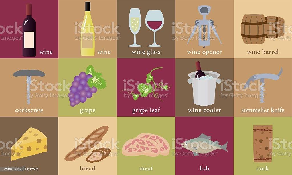 Wine illustration set vector art illustration
