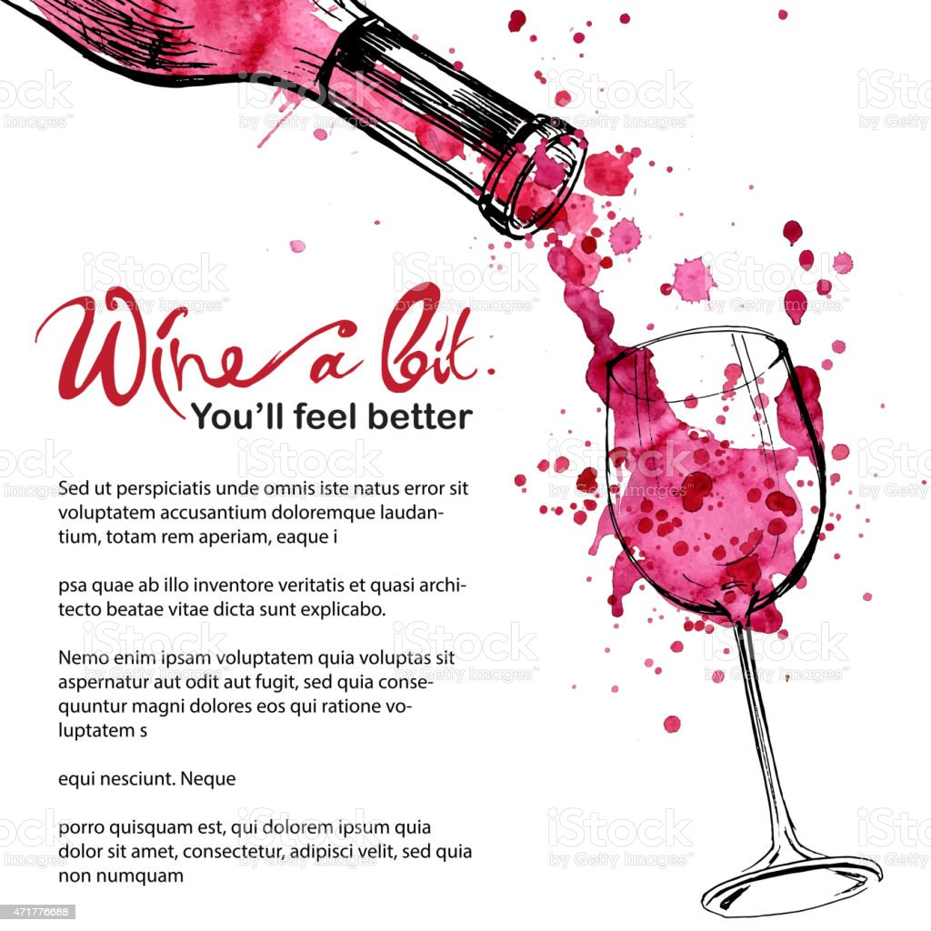 Wine illustration - sketch and art style vector art illustration