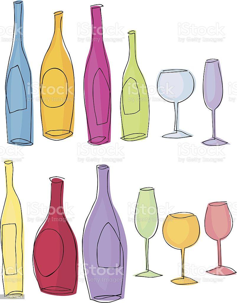 Wine In Line royalty-free stock vector art