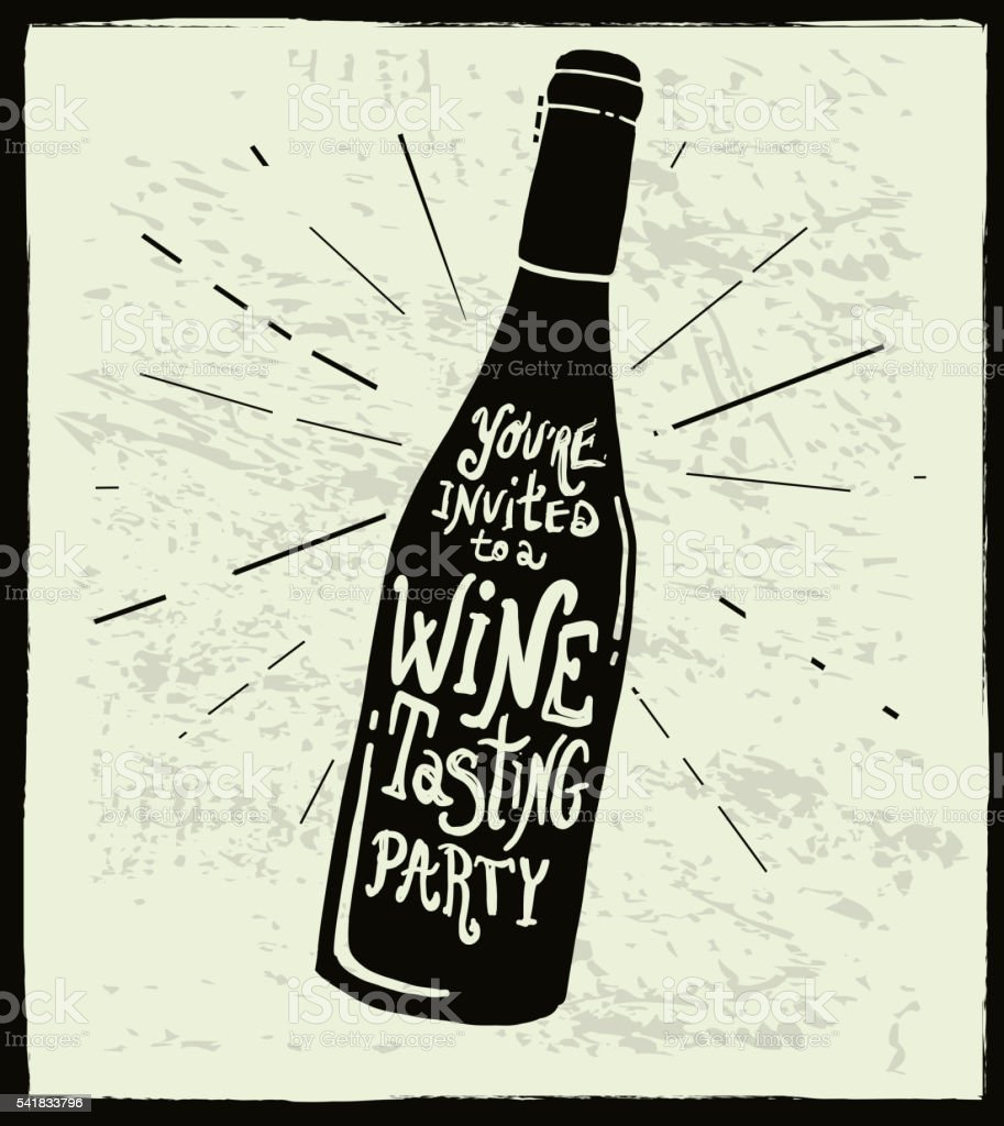 Wine invitation wine bottle label hand lettering design vector art illustration