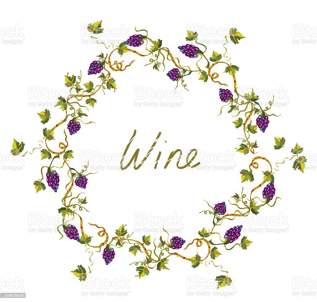 ワインラベルまたは背景につる植物やグレープ Illlustration のイラスト素材 519475576