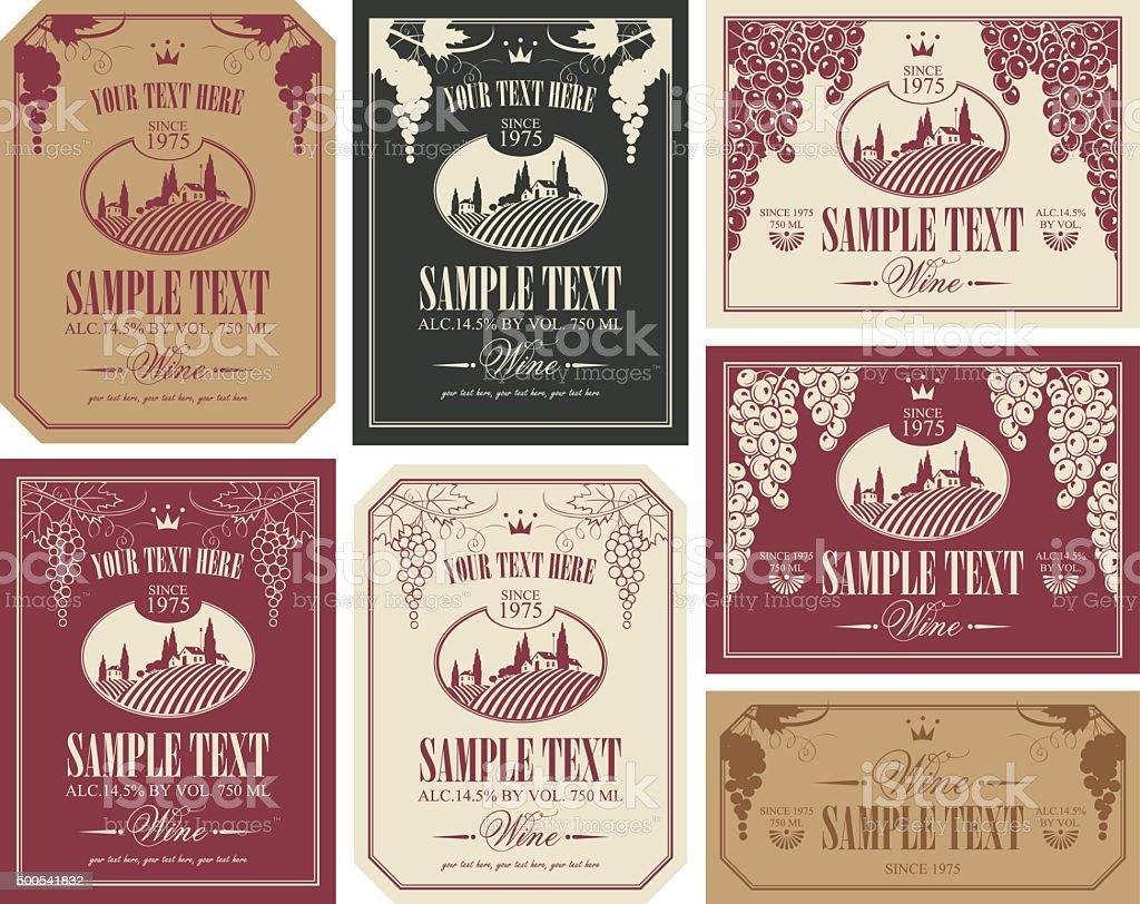 wine label set vector art illustration
