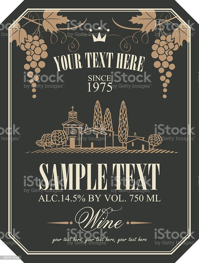 wine label with a landscape of vineyards vector art illustration