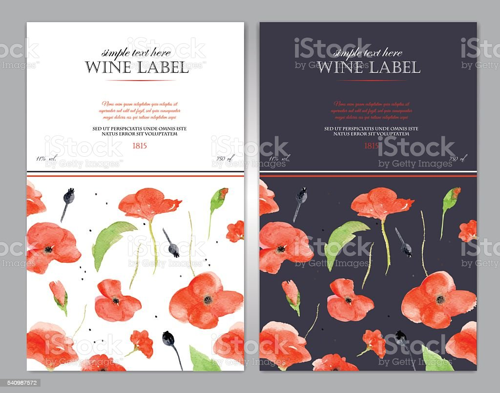 Wine label with watercolor red poppy. Vector template. vector art illustration