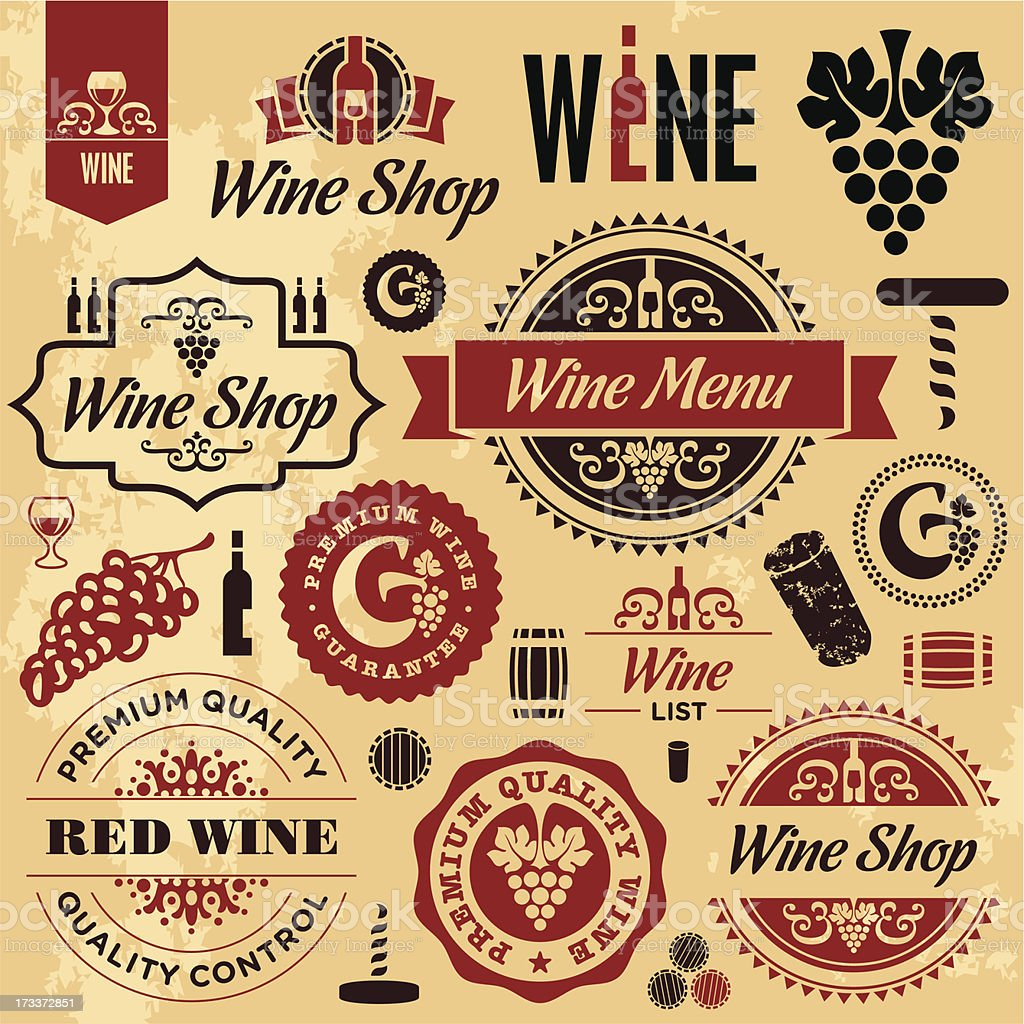 Wine labels collection vector art illustration