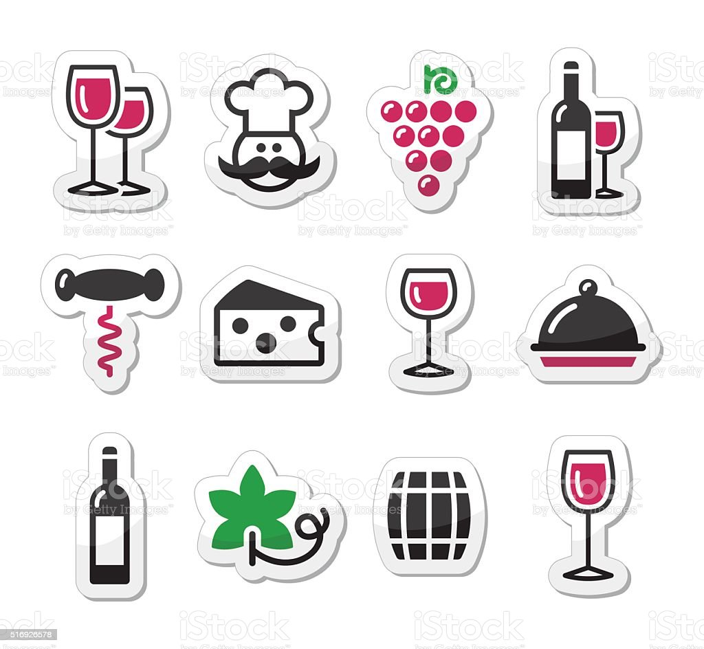 Wine labels set - glass, bottle, restaurant, food vector art illustration