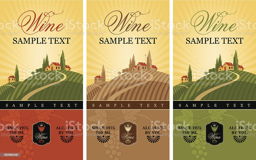 wine labels vector art illustration