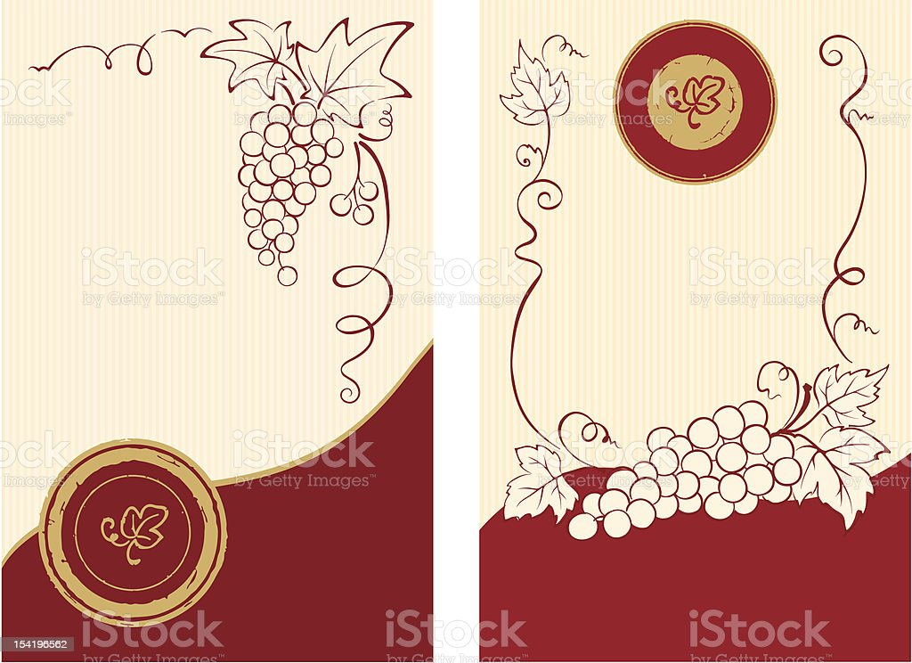 Wine labels with grapes royalty-free stock vector art