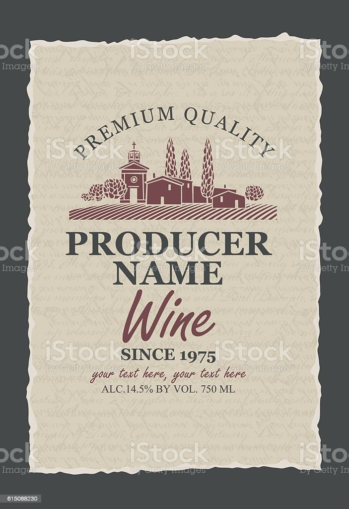 wine labels with vineyards vector art illustration