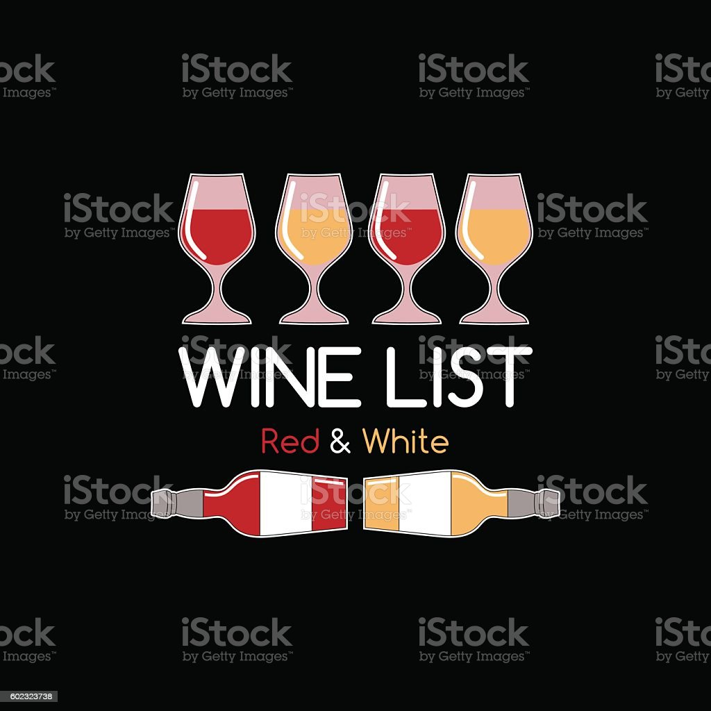 Wine list logo for bar or restaurant vector art illustration