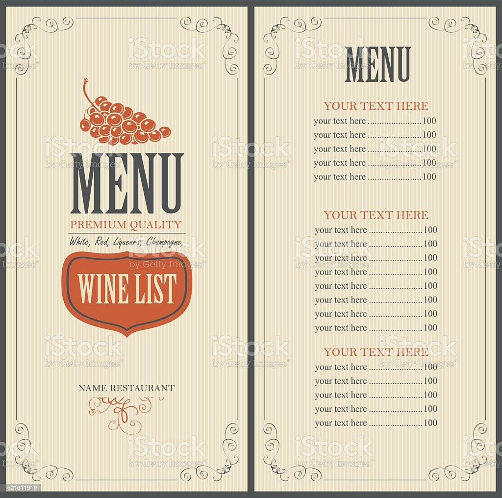 wine list with grapes vector art illustration