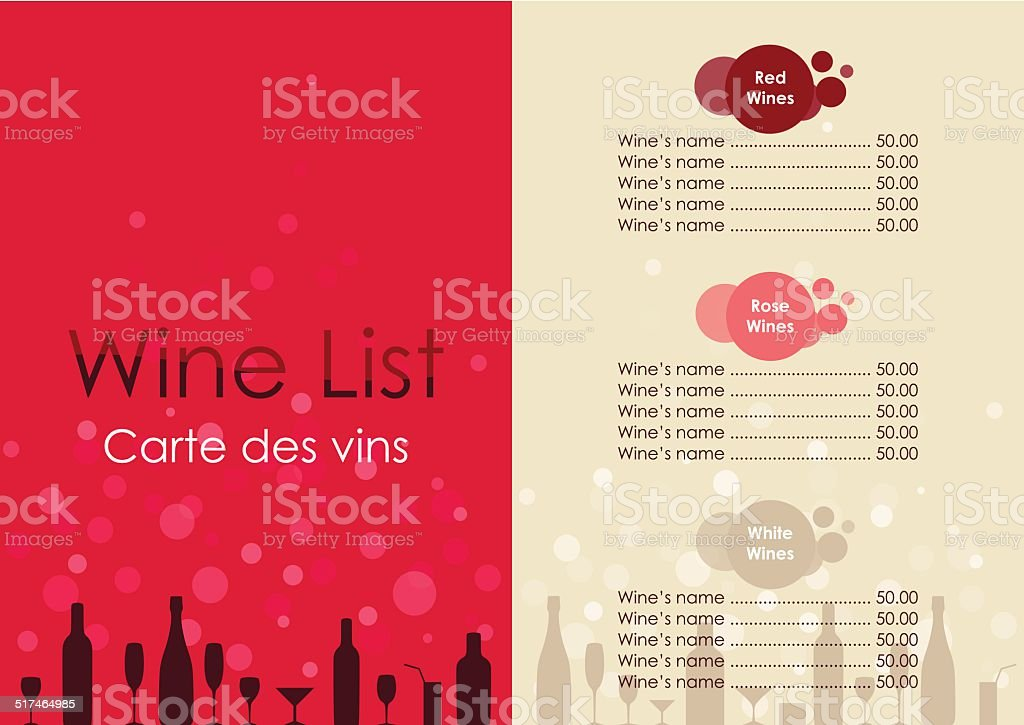 Wine list with transparent bubble on red and beige background. vector art illustration