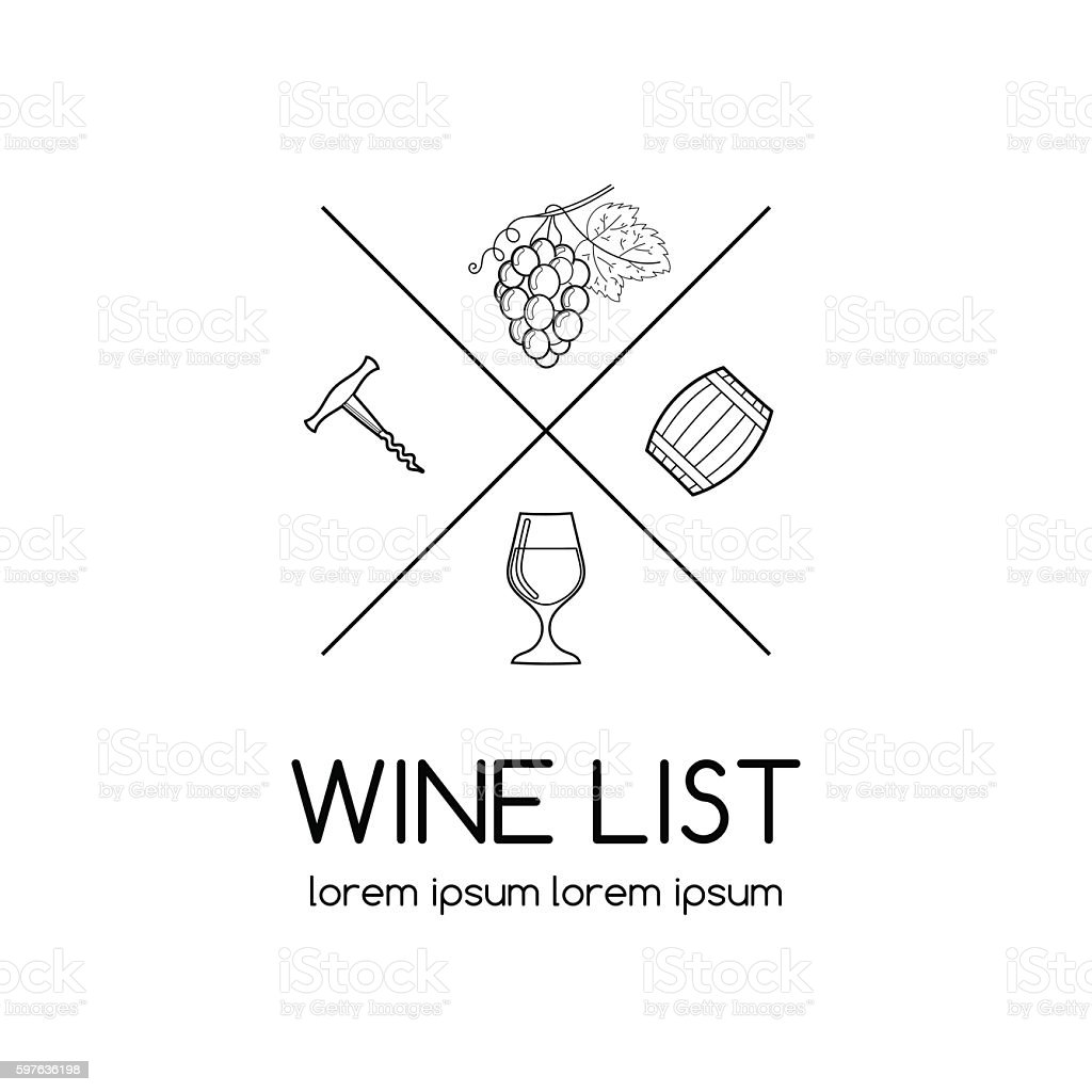 Wine logo for wine list, vineyard or winery. vector art illustration