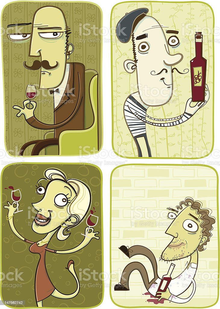 Wine Lovers vector art illustration