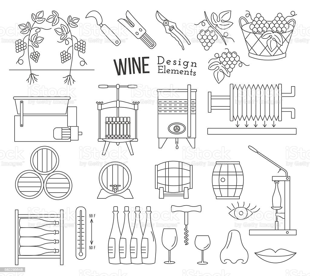 Wine making and wine tasting design elements vector art illustration