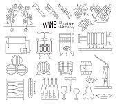 Wine making and wine tasting design elements