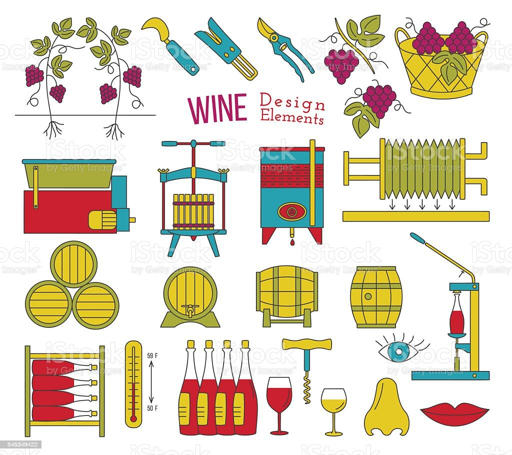 Wine making and wine tasting flat design elements vector art illustration