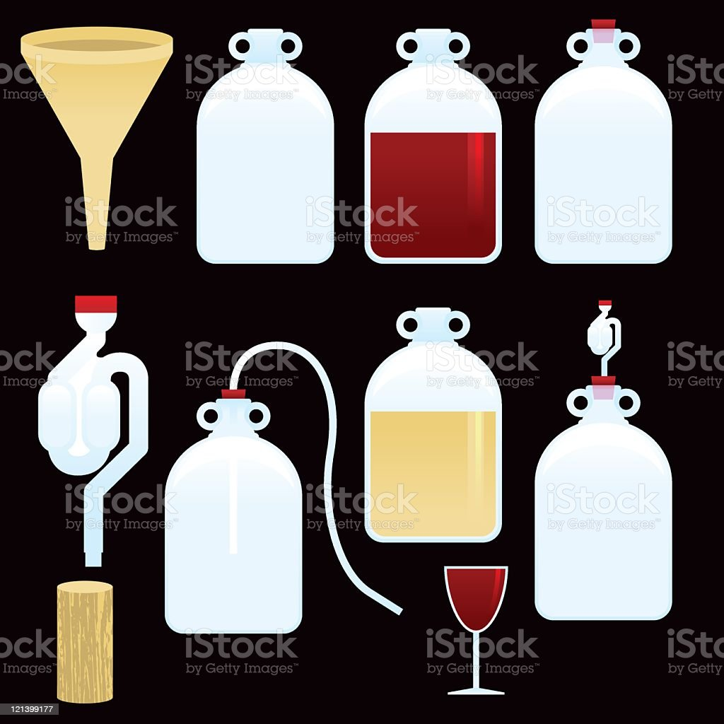 Wine making vector art illustration