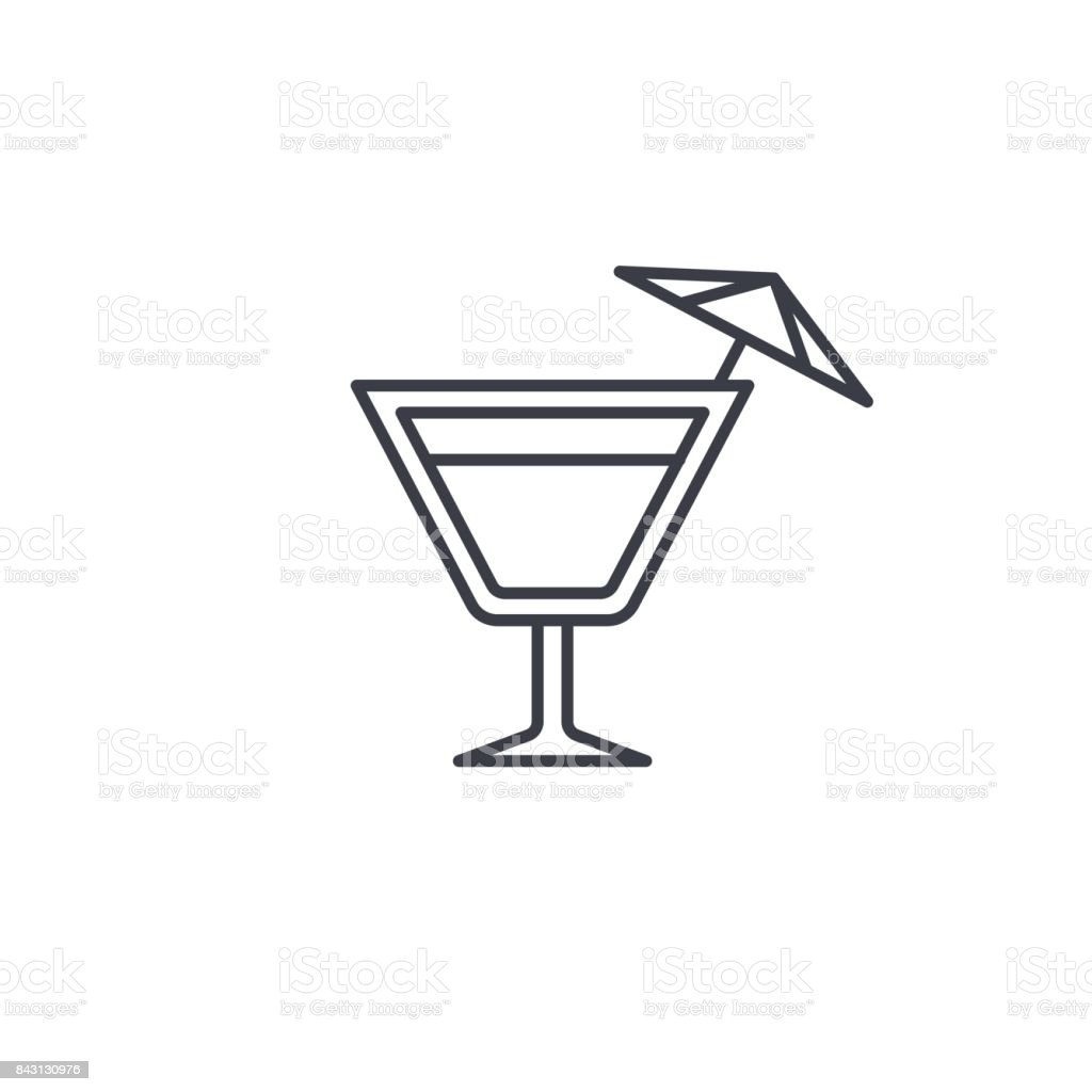 wine or cocktail glass icon thin line icon. Linear vector symbol vector art illustration