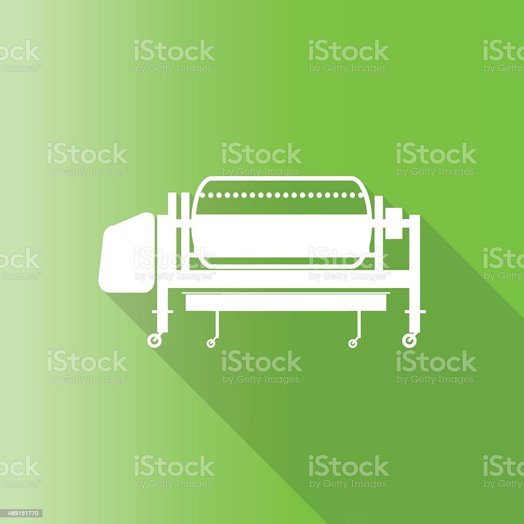 wine press equipment icon with long shadow. vector art illustration