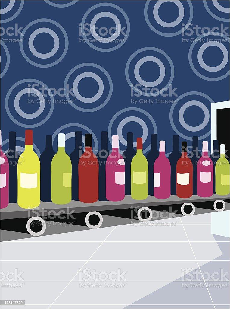 wine production line [ bottles ] conveyer belt vector art illustration