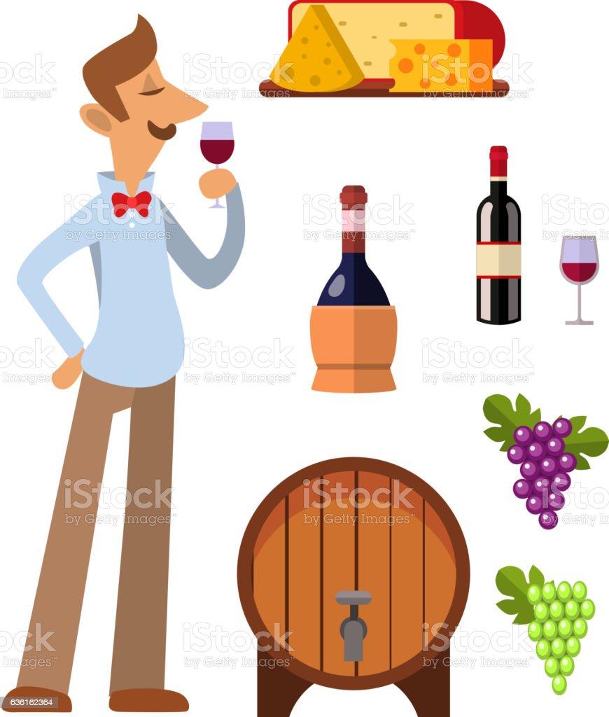 Wine production vector set. vector art illustration