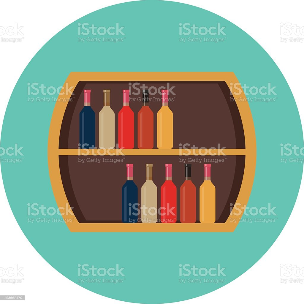 Wine Rack Colored Vector Icon vector art illustration