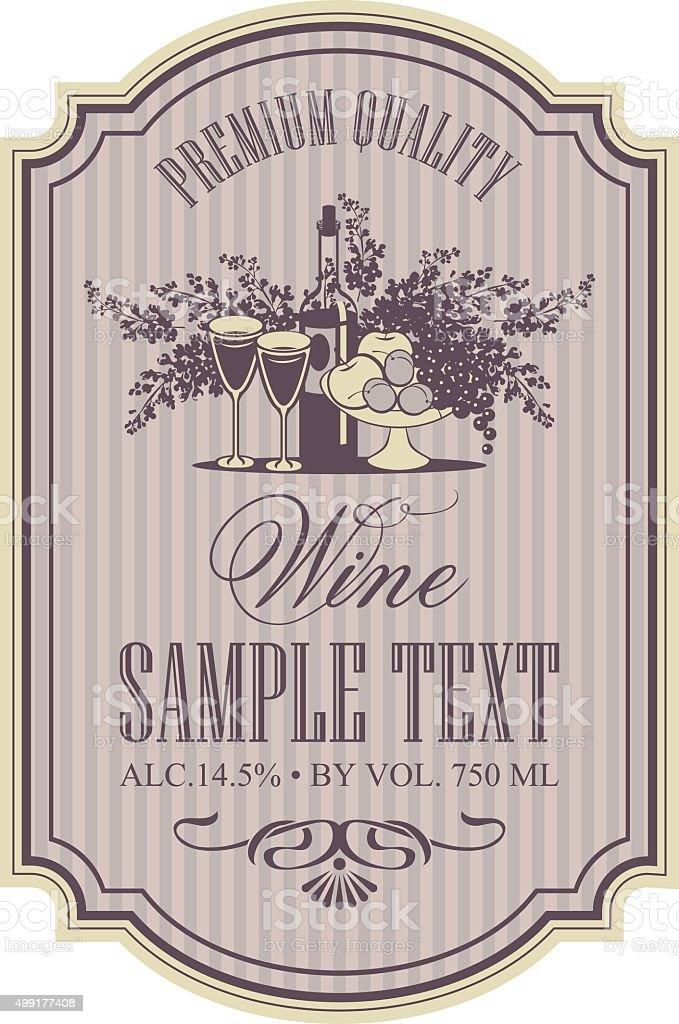 wine retro label vector art illustration