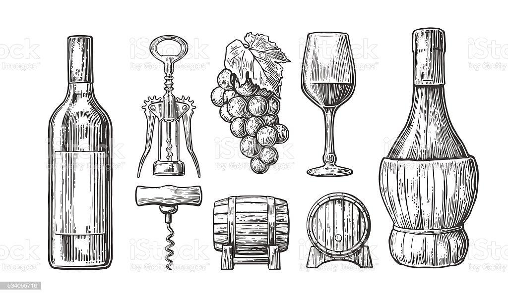 Wine set. Bottle, glass, corkscrew, barrel, bunch of grapes. vector art illustration